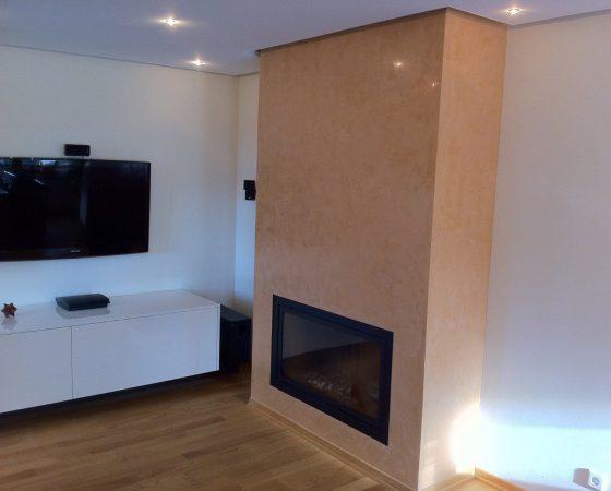 Innenraumgestaltung: Wohnzimmer mit Focus auf Ofenverkleidung und LED Beleuchtung