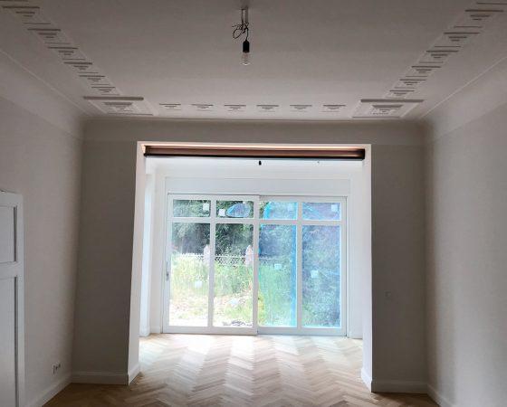 Malerarbeiten: Altbausanierung – Wohnzimmer Stuckdeckenrekonstruktion