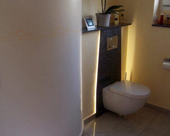 Kalk-Spachteltechnik und Lichtdesign: Bad